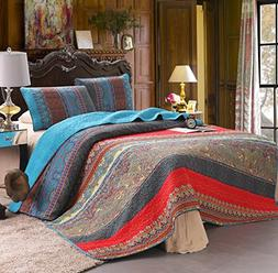 100% Cotton 3-Piece Paisley Boho Quilt Set, Reversible& Deco