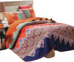 Exclusivo Mezcla 100% Cotton 3-Pc Rich Printed Boho King Siz