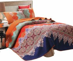 Exclusivo Mezcla 100% Cotton 3-Piece Rich Printed Boho Quilt