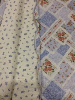 100% cotton Queen Size 3pcs Blue Peach Floral Quilt Set-Reve