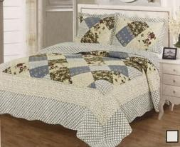 100% Cotton Quilt Bedspread King Size 3Pcs Set Reversible Or