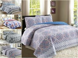 100% Cotton Reversible Quilt Set with Shams- 3Pcs, Full/Quee