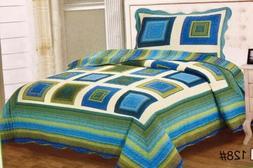 100% Cotton Twin Size Bedspread Quilts 2 Pcs Set Reversible