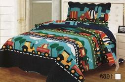 100% Cotton Twin Size Bedspread Quilts 2 Pcs Set Reversible