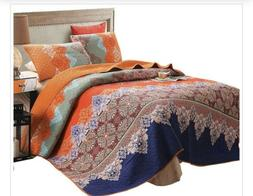 Exclusivo Mezcla 100% Cotyon 3-piece Rich Printed Boho Quilt