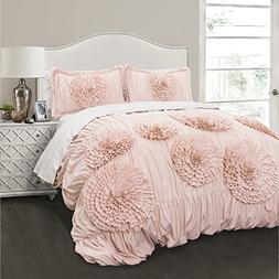 Lush Decor Serena 3 Piece Comforter Set, Full/Queen, Pink Bl