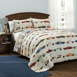 Lush Decor Race Cars 3 Piece Reversible Quilt Bedding Set, F