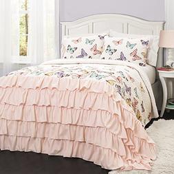 Lush Decor 16T000815 Flutter Butterfly 2Piece Quilt Set, Twi