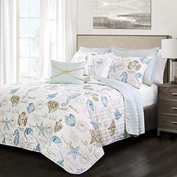 Lush Decor 16T002242 7 Piece Harbor Life Quilt Set, Full/Que