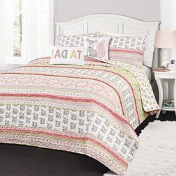 Lush Decor 16T002270 4 Piece Fox Ruffle Stripe Quilt Set, Tw