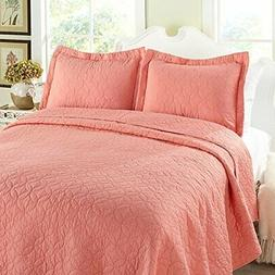 Laura Ashley 195557 Coral Solid Quilt Set – King