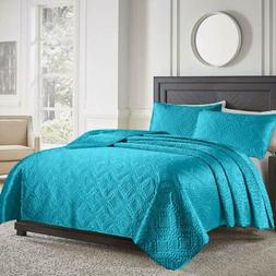 Soft Satin Silky 2/3 Piece Bedspread Quilt Coverlet +Sham Se