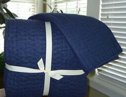 2 Pc Set Handcrafted Cotton Linen Blend Pick-Stitch Quilt Ki