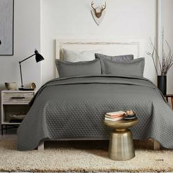 2 piece bedding quilt set grey charcoal