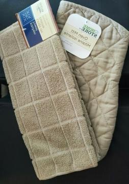 2 Piece Set Kitchen Dish Towel Oven Mitt Beige Quilted Windo