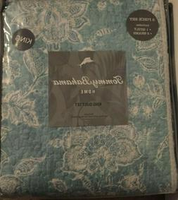 Tommy Bahama 220120 Tidewater Jacobean Reversible Quilt Set,