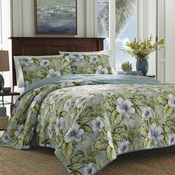 Tommy Bahama 220625 Alba Botanical Quilt Set, Harbor Blue, K