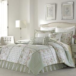 Laura Ashley 220884 Harper Comforter Set, Pale Green, Queen
