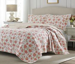 Laura Ashley 220950 Cadence Quilt Set,Apricot,Full/Queen