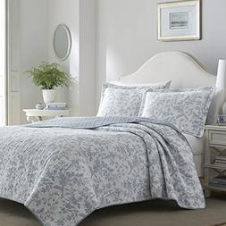 Laura Ashley 221082 Amberley Quilt Set, Full/Queen, Spa Blue