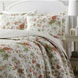 Laura Ashley 221085 Floral Quilt Set, Full/Queen, Breezy Cor