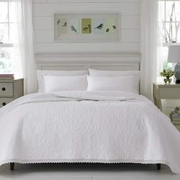 Laura Ashley 221295 Heirloom Crochet Quilt Set,White,Twin
