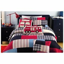 3 Piece Fireman Color Quilt Set, This Fireman Bedding Collec