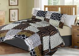 #3 ANIMAL PATHWORK SAFARI JUNGLE QUILT SET BED COVER BEDDING