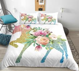3 <font><b>Pieces</b></font> Unicorn Duvet Cover <font><b>Se