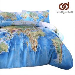 BeddingOutlet 3 <font><b>Pieces</b></font> World Map Bedding