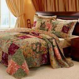 3 pc ANTIQUE CHIC King Quilt Set Red Floral Paisley Reversib