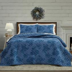 3-Pc Bee & Willow Crystal Rose Reversible Queen Quilt Set Fl