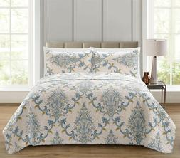 Regal Home Collections 3 Pc. Blue Gray & Yellow Floral Paisl