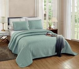 3 Pc CAL KING Size Catena Quilt Set SEA Foam Green Bedspread