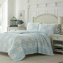 3-Pc Laura Ashley Kenna Reversible Full-Queen Quilt Set Blue