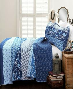 Lush Décor 3 PC KING Quilt Set Royal Empire Reversible NAVY