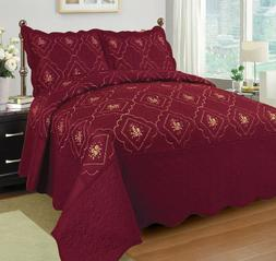 3 Pcs Polyester Bedspread Quilted Bed Cover Embroidery Cover