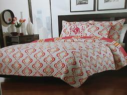 3 pcs Finely Stitched RYDER Twin Quilt, Sham & Fish Decorati