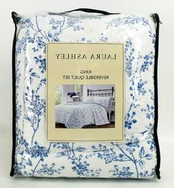 Laura Ashley 3 Piece 100% Reversible Quilt Set, Flora Blue,