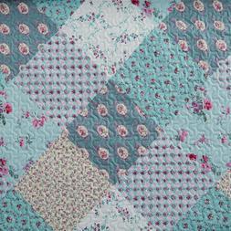 3 Piece Authentic Blooming Patchwork Quilt Set