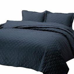 Bedsure 3-Piece Bedding Quilt Set Navy Blue King Size 106x96