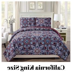3 Piece Bedspread Set California King Size Burgundy Quilted