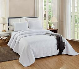 3 Piece CAL KING Size Catena Quilt Set Solid White Microfibe