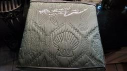 "3 Piece KING Quilt Set ""SHORE"" * Green * Seashell, Starfish"