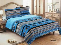 3 PIECE KING SIZE COMFORTER SET SOUTHWEST DESIGN Turquoise