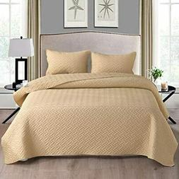 3-Piece King Size Quilt Set With Pillow Shams, As Bedspread/