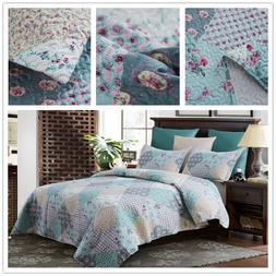 3 Piece King Size Quilt Set Blanket Bedspread w/ 2 Matching