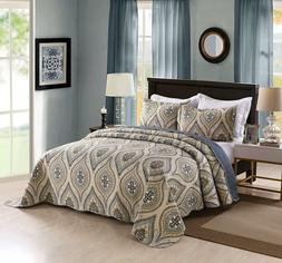 3 Piece Lightweight Quilt King Printed Quilt Set Bedding Lig
