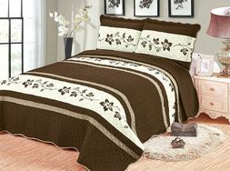 3 Piece Modern Floral Bedspread Microfiber Embroidered Bed C