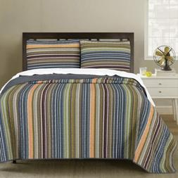 Chezmoi Collection 3-Piece Multi-Striped Reversible Cotton B